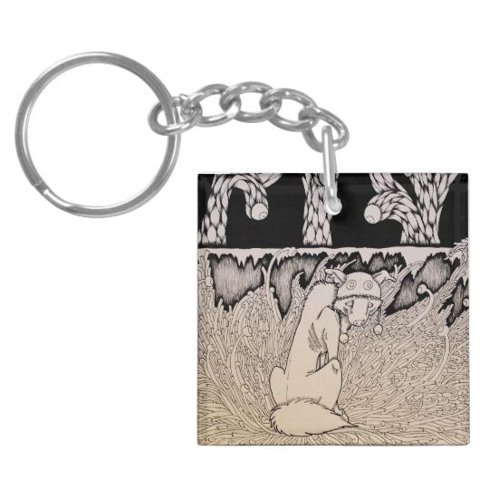 """""""Don't Look At Me"""" Weird creepy macabre dog illustration Keychain"""