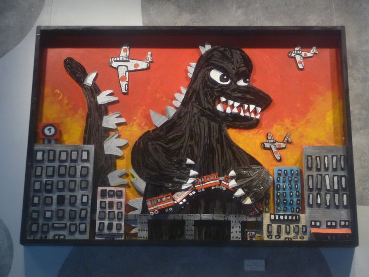 Godzilla No.1 cardboard and wooden frame painted with acrylics. $600 SOLD