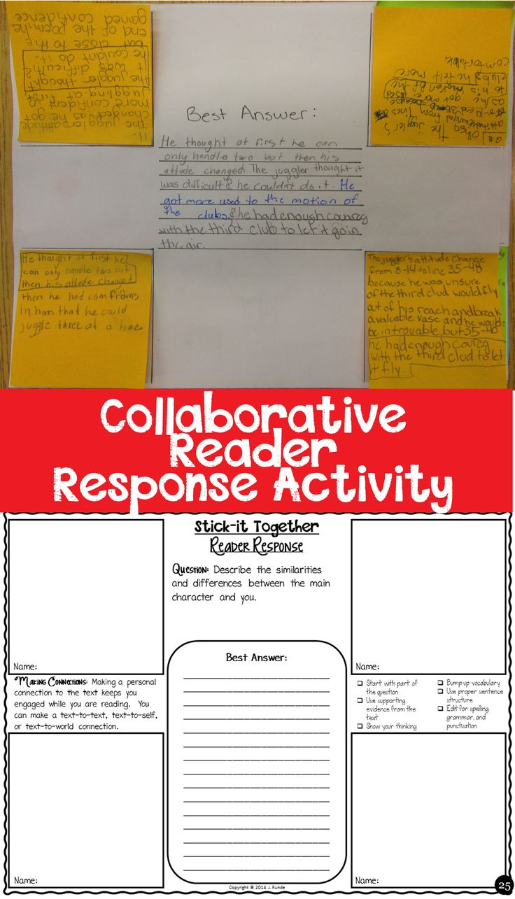 4 Corner Collaborative Reader Response Activity - students work individually, then collaborate in a group to build the best reader response.