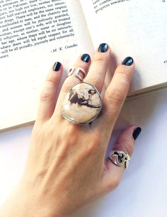 Ring with big jasper ring natural stone ring big stone
