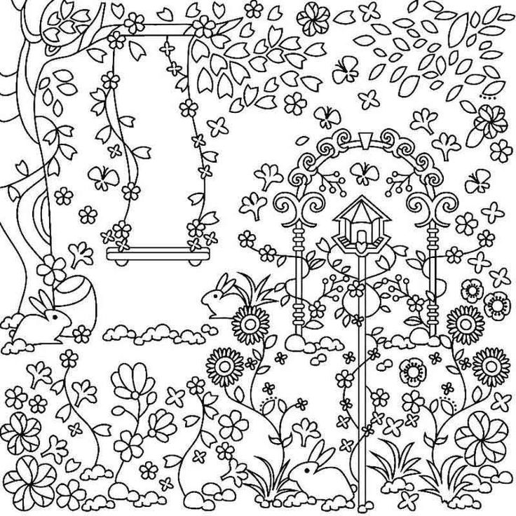 Frühlingsblumenszene Malvorlagen Färbung blume Seite Szene