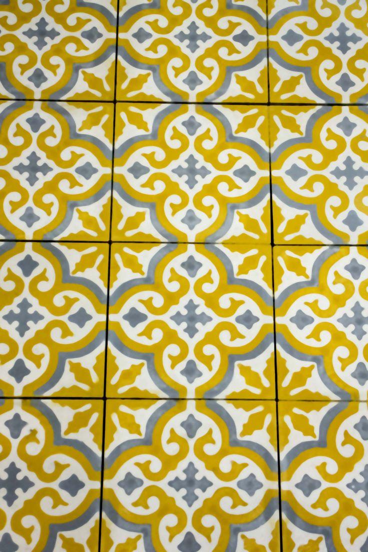 Marockanskt kakel - Marrakech Gul/grå/vit