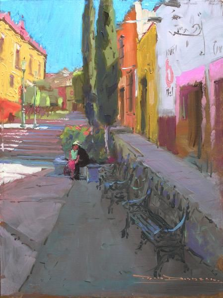 """La Plaza Civica"" oil painting by artist Tom Dickson"