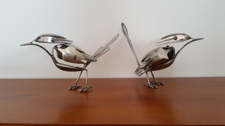 Free standing Birds made from recycled cutlery.