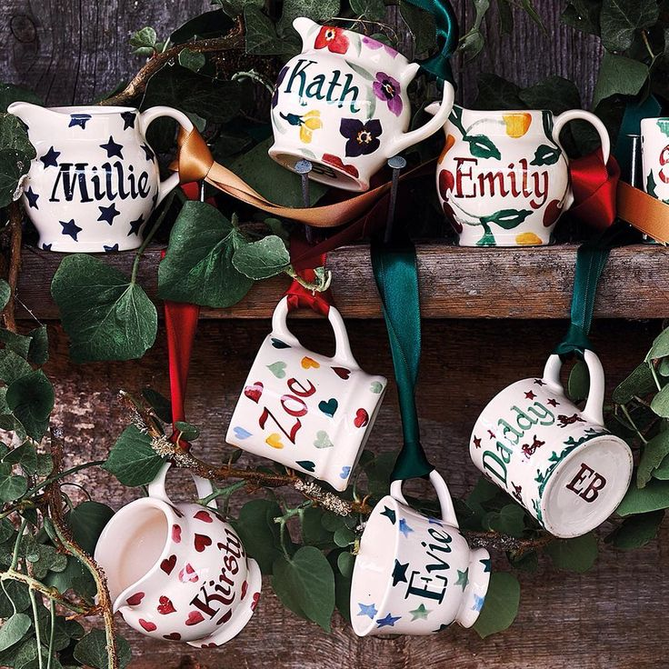 We're offering free personalisation on our Christmas Decorations and your first 10 letters free on Personalised Mugs - for a limited time only!⠀  These tiny teacups, mugs and jugs are the perfect Christmas miniature. Whether to hang on the tree or as table place names (or just extraordinarily small cups of tea of coffee). Shop the offer in store or online at emmabridgewater.co.uk (link in bio)