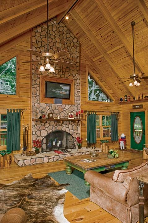 Log+Home+Great+Room+Designs   Great Room with Fireplace/Hearth    Suwannee River Log Homes