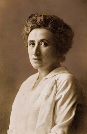 Rosa Luxemburg (1871 -1919) was a Polish-born German revolutionary and agitator who played a key role in the founding of the Polish Social Democratic Party and the Spartacus League, which grew into the Communist Party of Germany. She developed a humanitarian theory of Marxism, stressing democracy and  revolutionary mass action to achieve international socialism. Jan. 15, 1919, she was murdered in Berlin by members of the  Free Corps, a loose assemblage of conservative paramilitary groups.