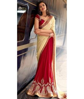 Legendary Red And Cream Georgette Saree.