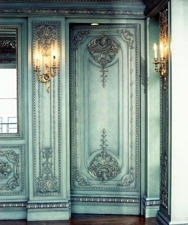 Amazing Rococo plasterwork paneled entrance...the softer pale pastel green and gold gilt of the light fixtures prominent in this style