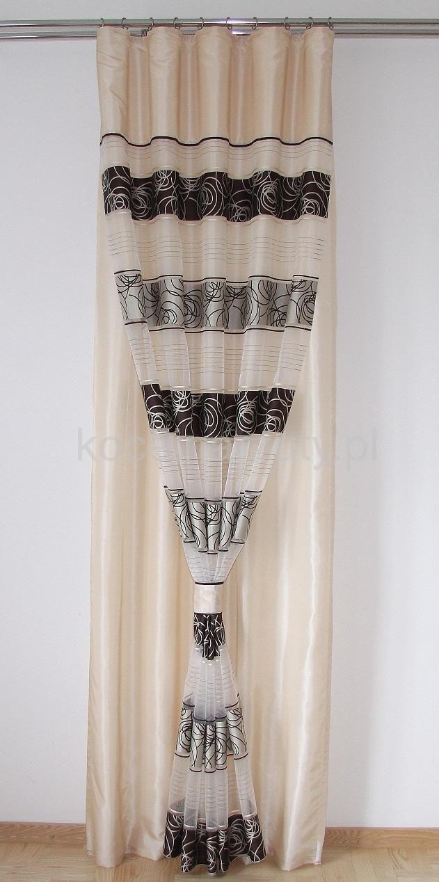 Zasłony kremowe gotowe z ornamentem