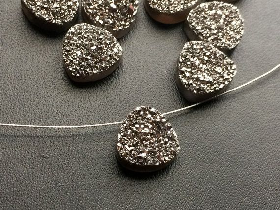 4 Pcs Charcoal Titanium Druzy Trillion Side by gemsforjewels