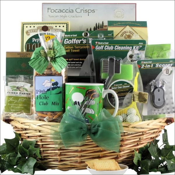 This unique golf gift basket includes a Golf Club Cleaning Gift Pack, a Score Caddy, a Terry-Cloth Golf Towel and delicious gourmet golf themed snacks.