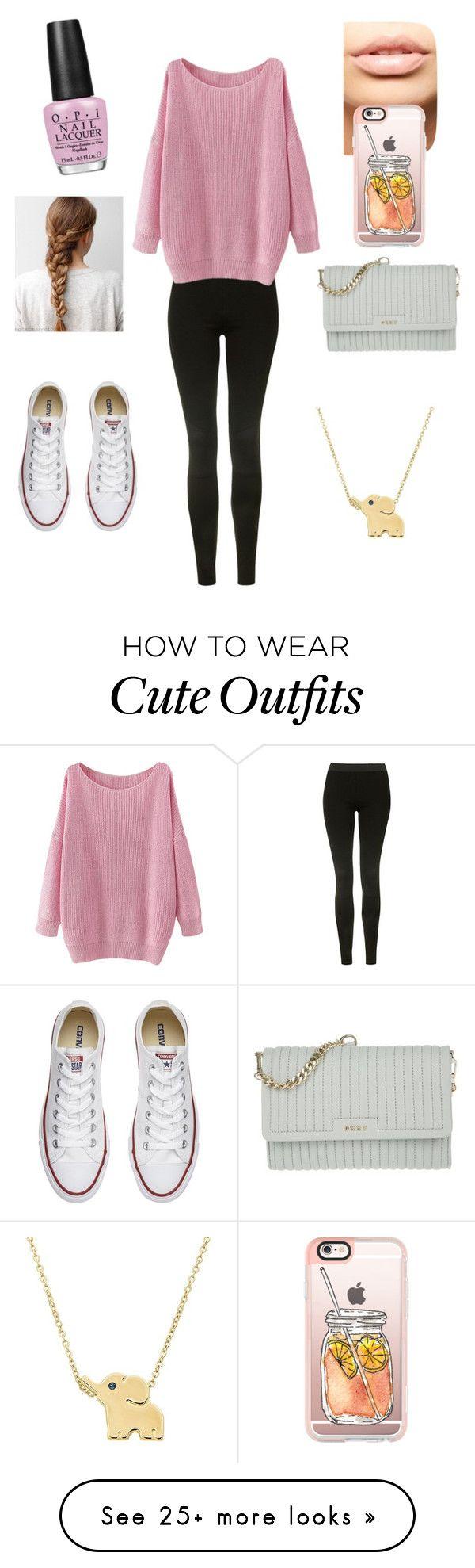 sudadera rosa, leggins negros, tenis blancos.