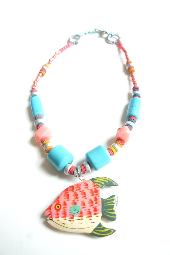 Tropical Waters// Neon Colored Fish Necklace by Karakoncolos, $12.50