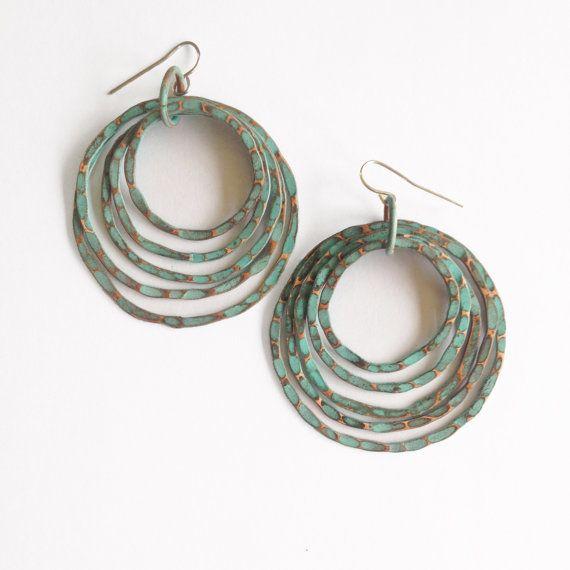 Gepatineerd koperen oorbellen koperen hoepels Turquoise