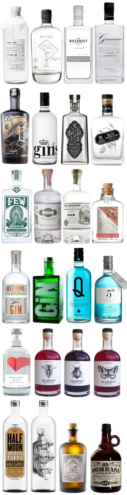 different #designs of #gin #bottles - like my perfect drinks cabinet ;)