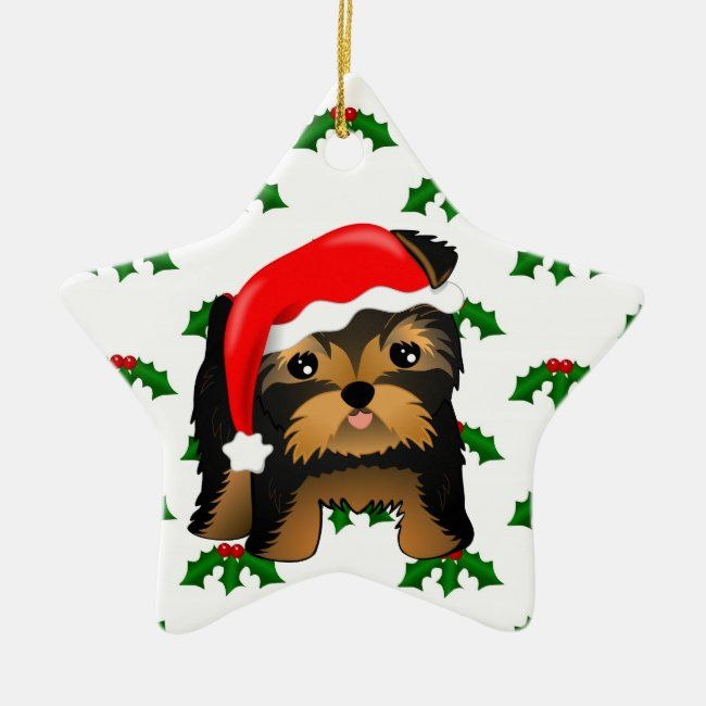 Cute Christmas Yorkshire Terrier Puppy Dog Ceramic Ornament Zazzle Com In 2020 Yorkshire Terrier Puppies Yorkshire Terrier Christmas Ornaments