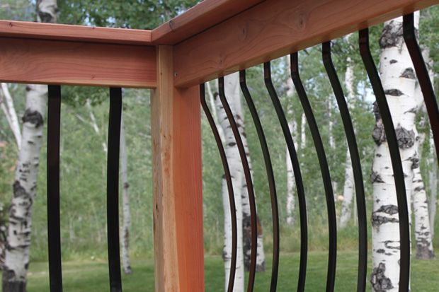 Curved metal deck railing posts lovely vinyl porch and deck railing designs pinterest for Curved metal railings exterior