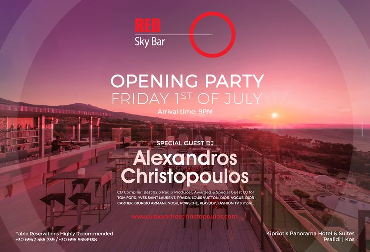 The party of the summer with the famous #dj #AlexandrosChristopoulos on the decks. Be there July 1st at Red Sky Bar.