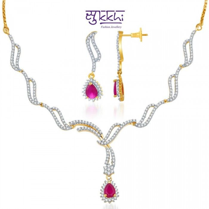 Stylish Gold and Rodium plated Pink CZ Necklace Set | High5Store.com