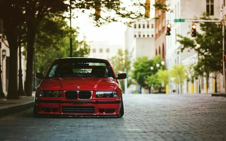 BMW E36 3 series red slammed