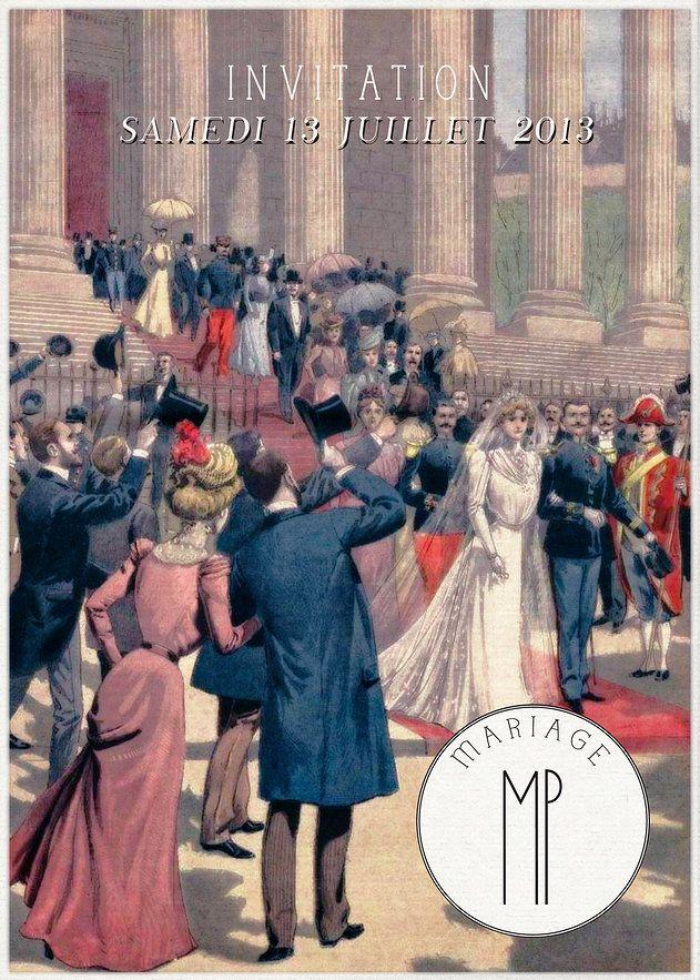 Faire-part MARIAGE, style vintage BelleEpoque, sur WWW.ILOVEYOUPAPER.COM