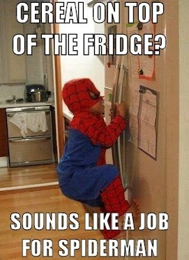 Cereal on top of the fridge? Sounds like a job for Spiderman!