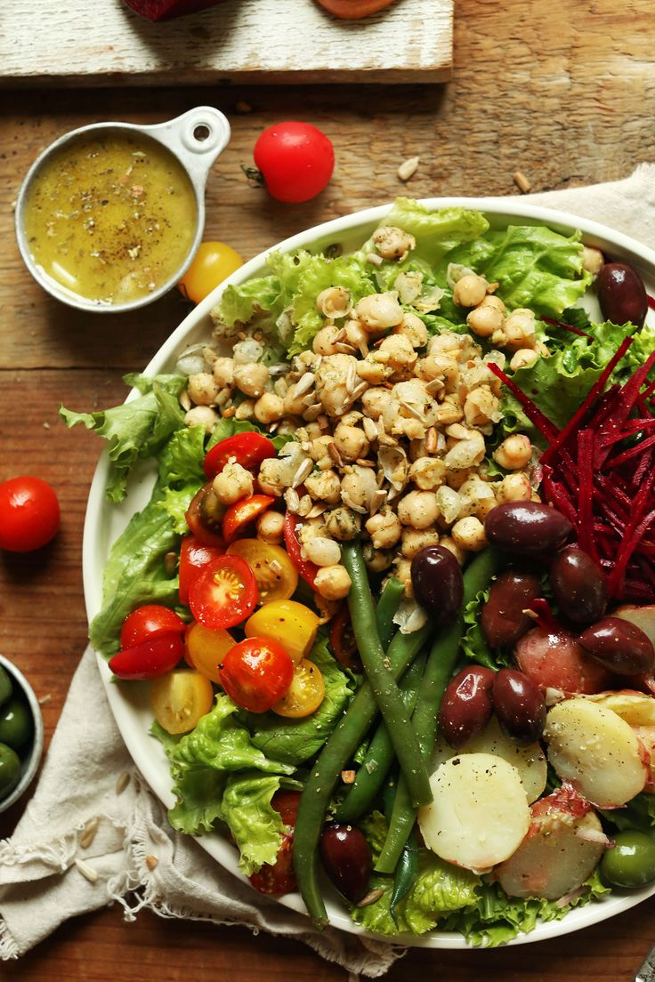 30-minute Vegan Nicoise Salad with potatoes, green beans, beets, chickpeas, and a simple shallot-dijon vinaigrette!