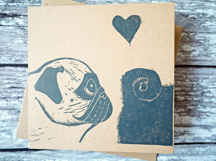 Love at first sniff cute pug valentine wedding card