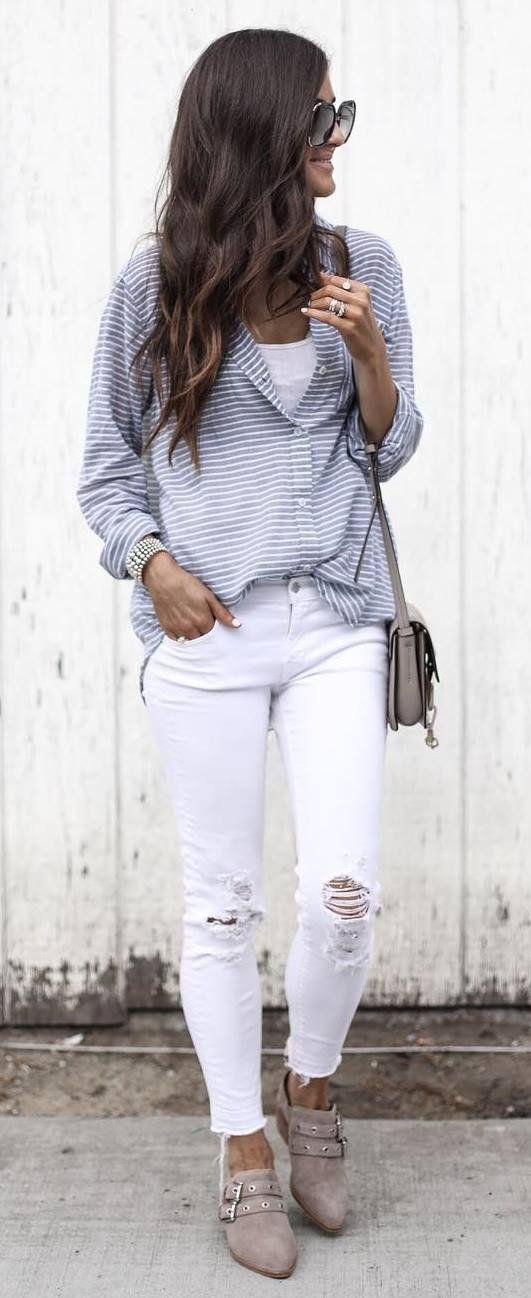 casual style obsession stripped shirt   bag   white skinnies   shoes