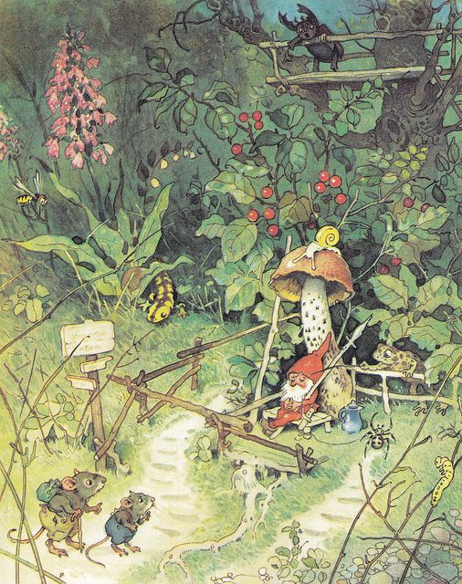 """by Fritz Baumgarten (Once again, I overlook my """"gnome issues"""" for the adorable mice.  Plus, I love the garden lizard!)"""