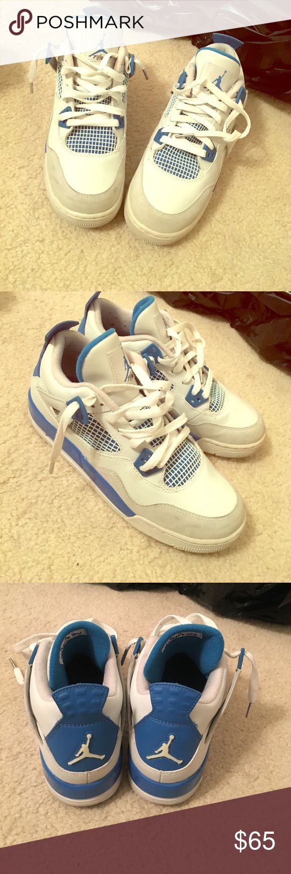 Blue and white retro Jordan 4 Blue and white low top retro Jordan sneaker Jordan Shoes Sneakers