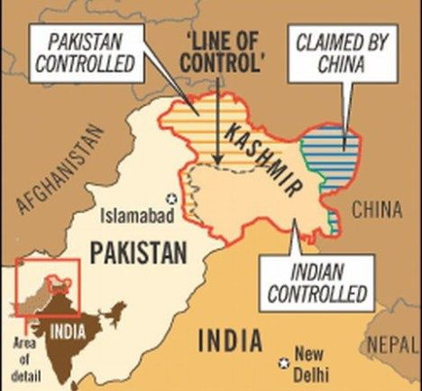 India and Pak Controlled kashmir on Map