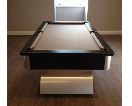 7ft Arched Contemporary UK Pool Table in Brushed Aluminium with Black Cushion Rail and Taupe Cloth. Shop here: http://www.snookerandpooltablecompany.com/pool-tables/uk-pool-tables/contemporary-bespoke-uk-pool-tables/arched-contemporary-uk-pool-table-black-cushion-rail-and-taupe-cloth.html