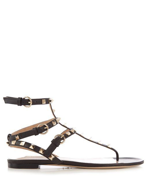 9588ee2507e3 Valentino Rockstud flat leather sandals