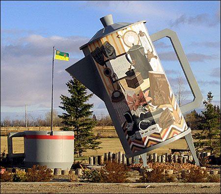Coffee pot and mug at Davidson on Highway 11, Saskatchewan (pinned by redwoodclassics.net)
