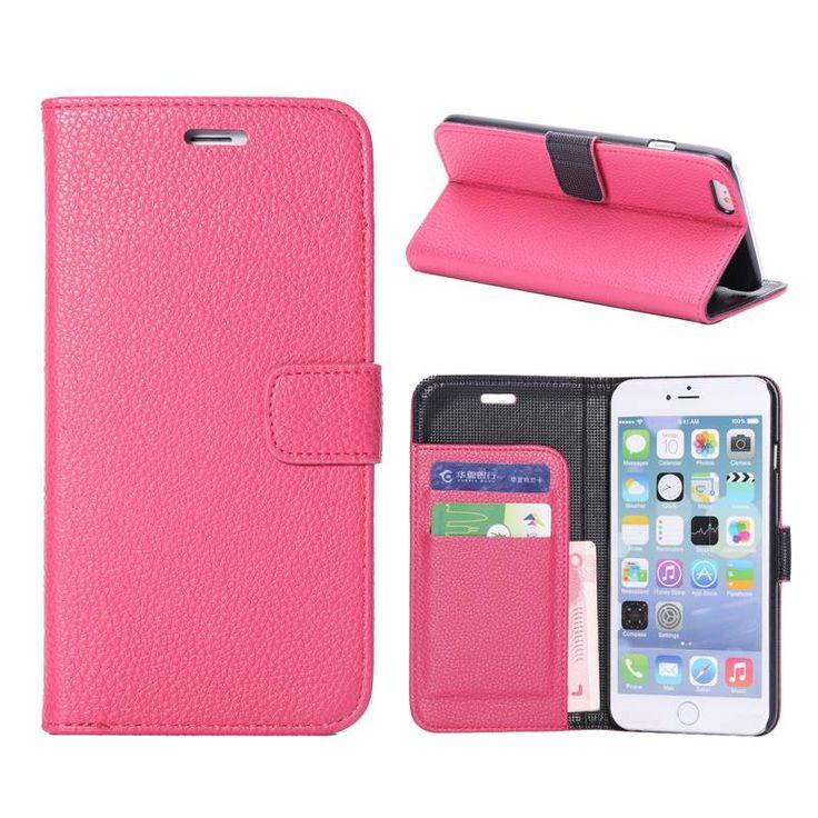 Roze lychee bookcase hoesje voor iPhone 6 Plus