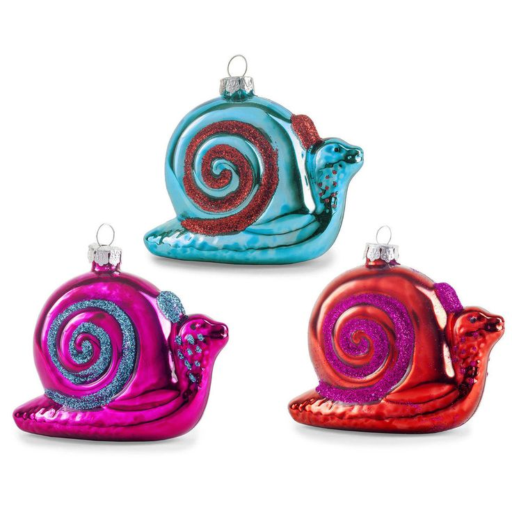 Pair of Metallic Glitter Glass Snail Novelty Christmas Tree Baubles