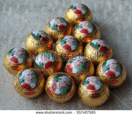 Kragujevac January 15, 2017. Mozart balls, macro close up view. Mozart ball is small round chocolate confection made of pistachio marzipan, and nougat, covered with dark chocolate.