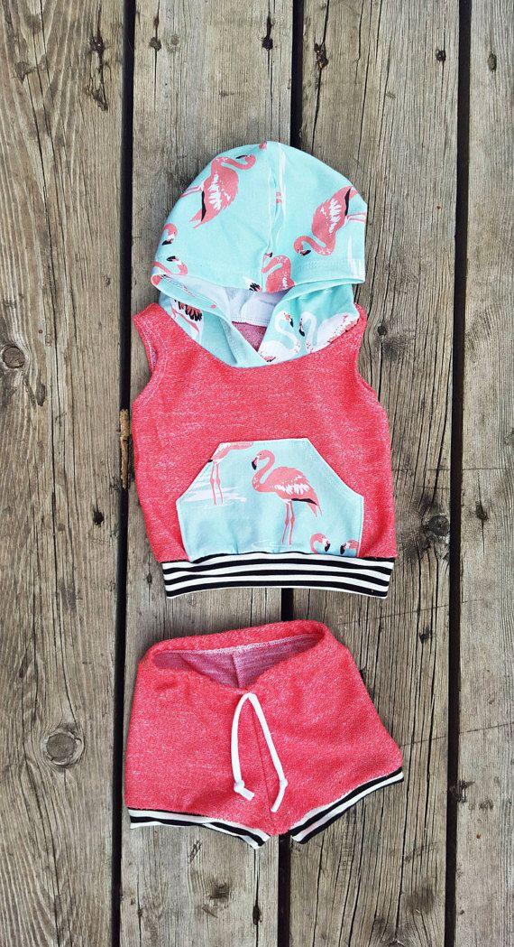 Baby Girl Flamingo Sleeveless Hoodie and by brambleandbough