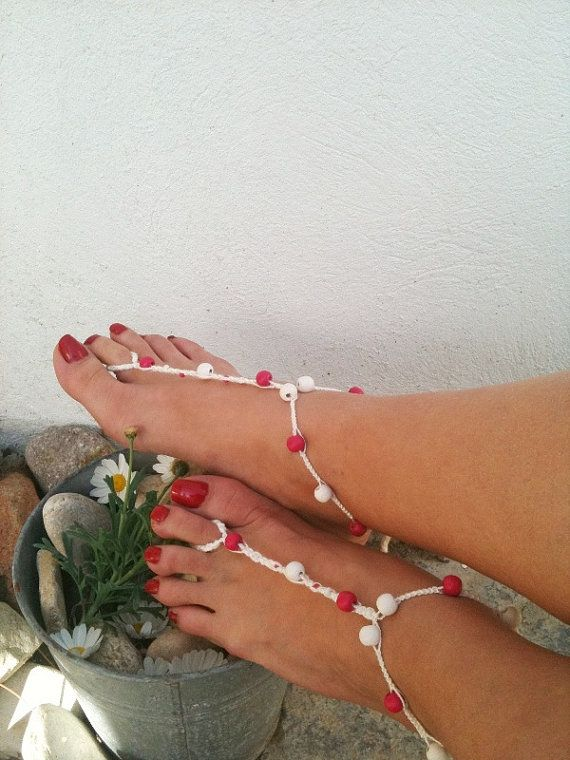Pink and white wooden beads macrame Foot jewelry by ArtofAccessory, $15.00