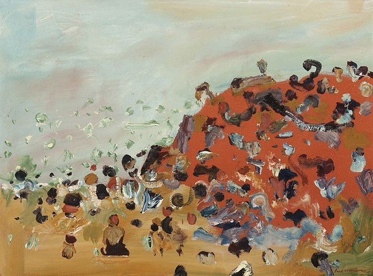 Fred Williams, Summer at Red Bluff Beach, 1968 gouache on paper on composition board 55.0 x 74.0 cm