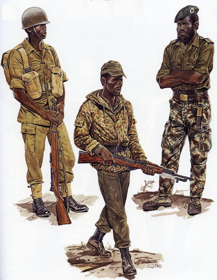 Da esq. para a dir. soldados da FNLA, MPLA e da UNITA.