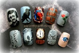 edgar allan poe gothic literature nail art - the raven, the tell-tale heart