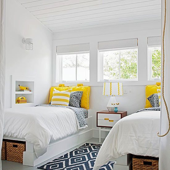 Add excitement to an all-white bedroom with trendy patterns and bright colors. Tour the rest of this coastal cottage: http://www.bhg.com/decorating/decorating-style/cottage/a-colorful-coastal-cottage/?socsrc=bhgpin050413blueyellowbedroom=10