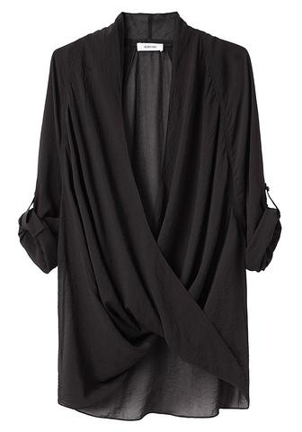 Helmet Lang Black Lyra Twist Front Blouse big fan of the twist front blouse