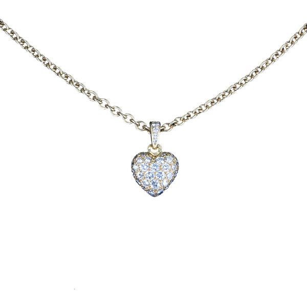 Pre-Owned Cartier Pave Diamond Heart Pendant Necklace Vintage 18k Gold ($6,895) ❤ liked on Polyvore featuring jewelry, necklaces, accessories, yellow gold, pendant necklace, cartier necklace, round pendant necklace, tri color gold necklace and gold pendant necklace