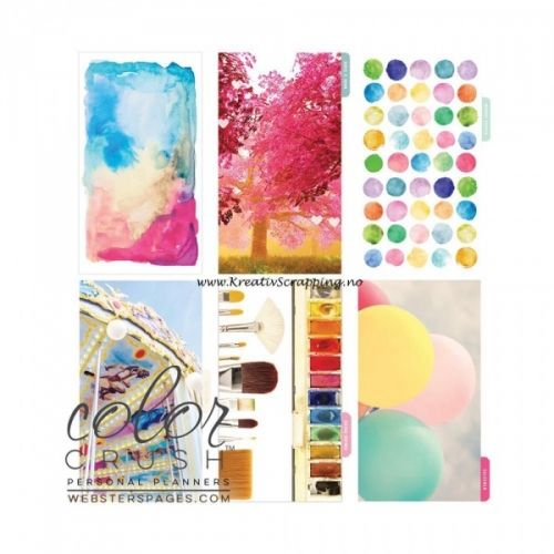 "WEBSTERS PAGES - COLOR CRUSH DIVIDER KIT - POSITIVE THOUGHTS Sette med ulike skilleark til din KALENDER-ALMANAKK-PLANNER KIT fra WEBSTERS PAGES.   Webster's Pages-Color Crush Personal Planner - Divider Set Kit.The perfect planner for filling in your everyday appointments, thoughts and more! Get creative!  Includes 3.75""X6.75"" (A2 size), coated 6 hole punched divider set with 5 patterned tabbed dividers and a cover design."