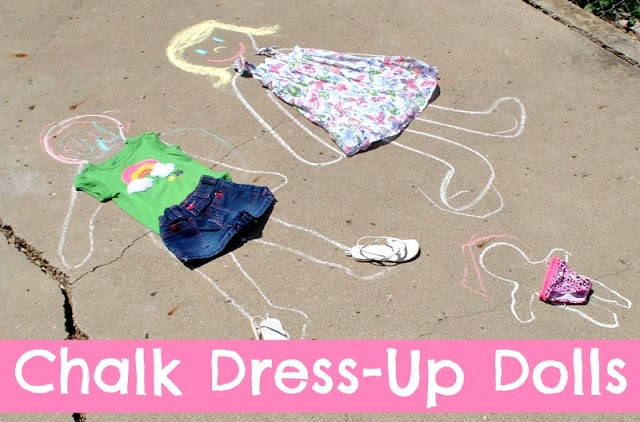 Draw around your child with chalk and then they can use their own clothes to dress up the chalk outline.