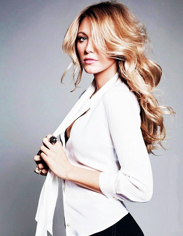 Blake Lively wears a white button-down shirt with black pants and cocktail rings in ELLE France, August 2013, photographed by Terry Tsiolis